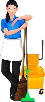 Pracownik sprzątający pozowanie i trzymając narzędzie do czyszczenia