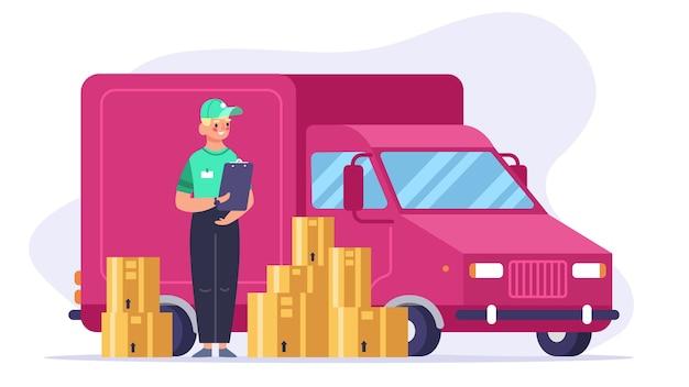 Pracownik stojący w pobliżu samochodu mini van lub pojazdu ciężarowego