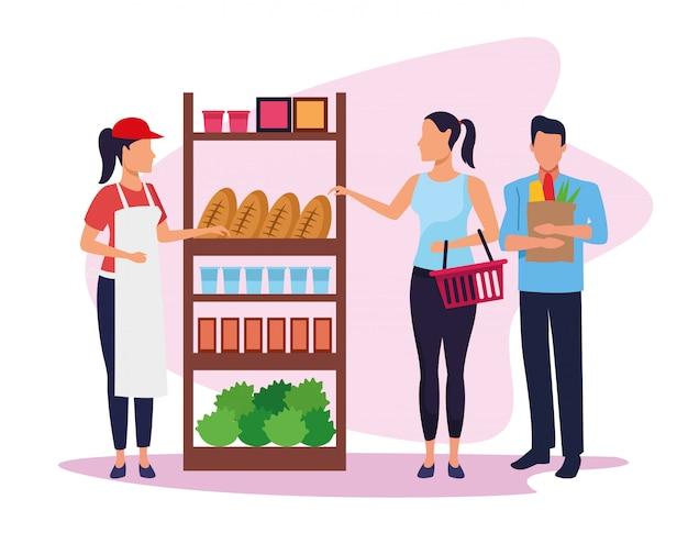 Pracownik supermarketu avatar pomaga klientom przy stoisku z artykułami spożywczymi