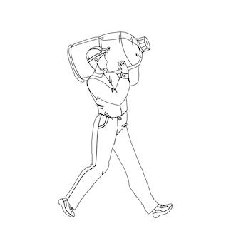 Pracownik usługi dostarczania wody nosić butelkę czarna linia rysunek ołówkiem wektor. kurier dostarczający pojemnik na wodę do klienta. charakter człowieka niosącego świeży i zdrowy czysty napój galon ilustracja