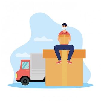Pracownik usługi dostawy przy użyciu maski podnoszenia ciężarówki i pudełko
