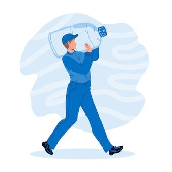 Pracownik usługi dostawy wody nosić butelkę wektor. kurier dostarczający pojemnik na wodę do klienta. charakter człowieka niosącego świeży i zdrowy czysty napój galon płaski ilustracja kreskówka