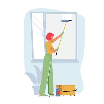 Pracownik usługi sprzątania postaci kobiecej w jednolite kombinezony mycie okna ze skrobakiem. profesjonalny pracownik firmy sprzątającej ze sprzętem w pracy, sprzątanie. ilustracja kreskówka wektor