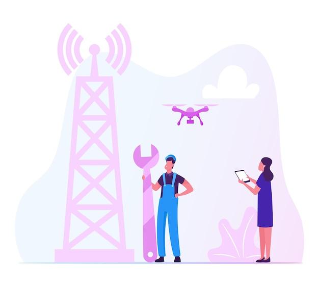 Pracownik w mundurze trzymaj klucz instaluje sprzęt do internetu 5g na wieży telekomunikacyjnej transmisji. płaskie ilustracja kreskówka