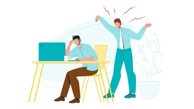 Pracownik wyczerpany przez krzyczącego szefa