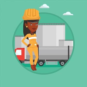 Pracownik z ciężarówką paliwa i rośliną olejową.