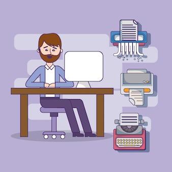 Pracownika biznesowego biura pracownika kreskówka