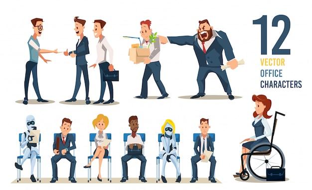 Pracowników biurowych do wynajęcia wektor zestaw znaków