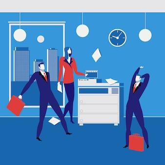 Pracowników biurowych pojęcia wektorowa ilustracja w mieszkanie stylu