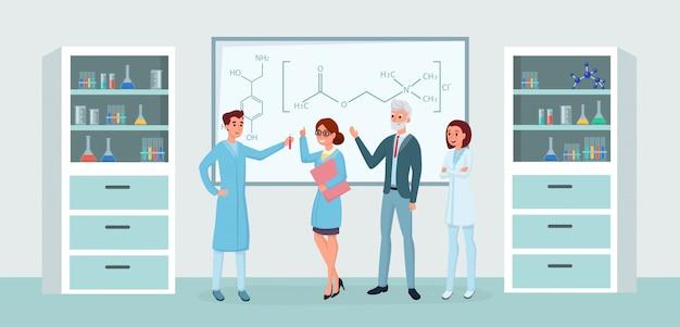 Pracowników laboratorium chemiczne spotkanie płaskie ilustracje