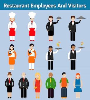 Pracowników restauracji i odwiedzających płaskie awatarów ustaw z kelner szef kuchni sługa izolowanych ilustracji wektorowych