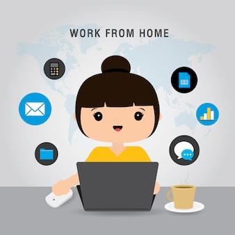 Pracuj w domu, zespół business za pomocą laptopa do spotkania online w wideokonferencji. ludzie w domu poddani kwarantannie. postać z kreskówki ilustracja