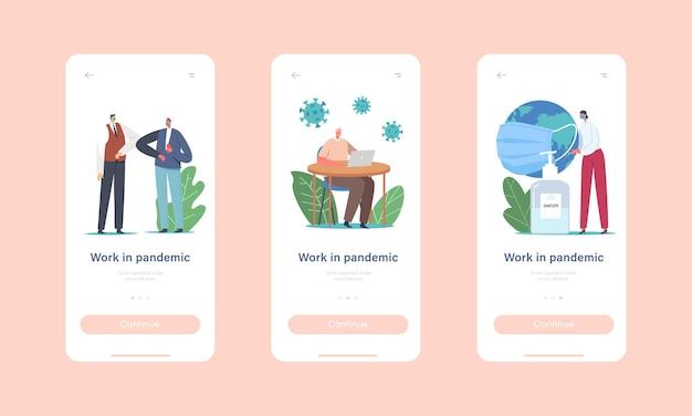 Pracuj w szablonie wbudowanego ekranu aplikacji mobilnej pandemic. postacie biurowe w maskach medycznych praca w biurze na odległość, używanie środków odkażających, powitanie z koncepcją łokci. ilustracja wektorowa kreskówka ludzie