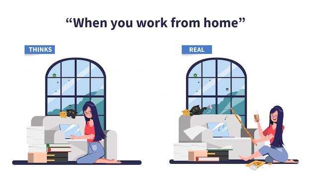 Pracuj z domu, aby uniknąć rozprzestrzeniania się epidemii koronawirusa. myśli vs rzeczywistość, gdy pracujesz w domu.