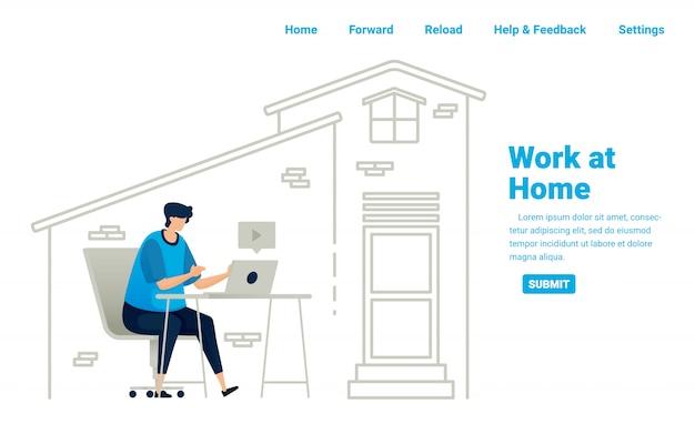 Pracuj z domu podczas pandemii covid-19. praca niezależna i możliwości biznesowe w domu z dostępem do internetu. ilustracja projektu strony docelowej, strony internetowej, aplikacji mobilnych, plakatu, ulotki, banera