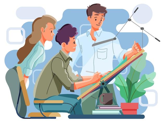 Pracując razem w biurze. koncepcja pracy zespołowej.