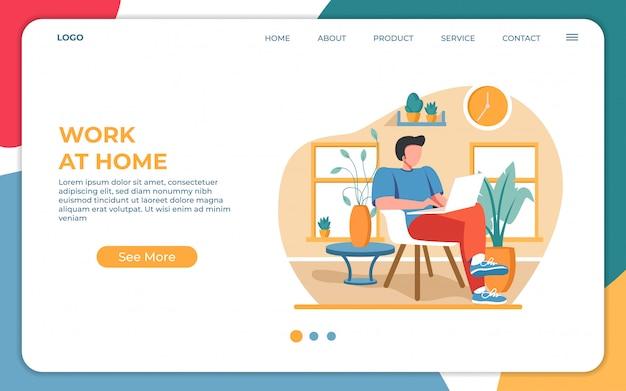 Pracując w domu, zostań w domu na kwarantannie podczas epidemii coronavirus. szablon projektu strony docelowej nowoczesne mieszkania www. ilustracji wektorowych