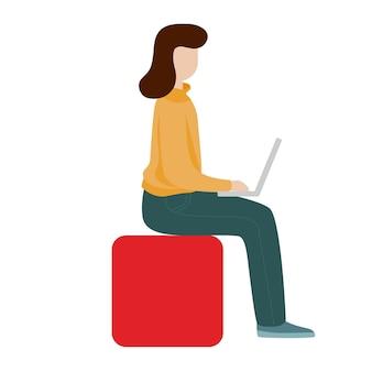 Pracująca kobieta siedzi z komputerem. koncepcja sieci społecznej. praca zdalna na zlecenie. ilustracja wektorowa stylu płaski kreskówka.