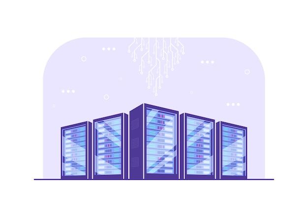 Pracujące szafy serwerowe. przechowywanie danych, przechowywanie w chmurze, centrum danych.