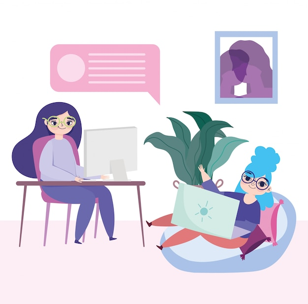 Pracujące zdalnie młode kobiety z laptopem i komputerem w pokoju pracy