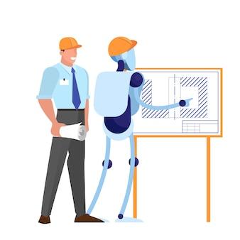 Pracujący razem inżynier człowieka i robota w kasku. idea sztucznej inteligencji i nauk inżynieryjnych. ilustracja w stylu kreskówki