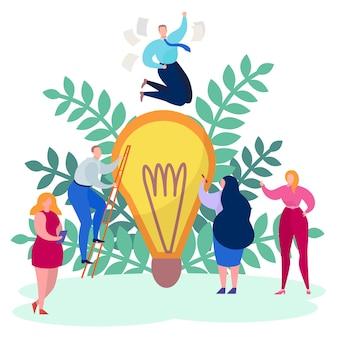 Pracy pojęcia ludzie biznesu, kreatywnie pomysł ilustracja. mężczyzna kobieta postać sukcesu projektu, duża żarówka.