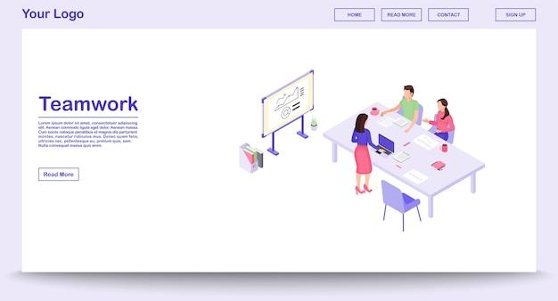 Pracy zespołowej strony internetowej wektorowy szablon z izometryczną ilustracją, strona docelowa
