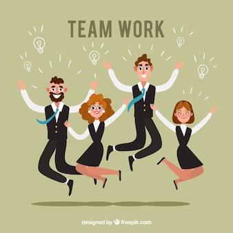 Pracy zespołowej tło z skokowymi ludźmi biznesu