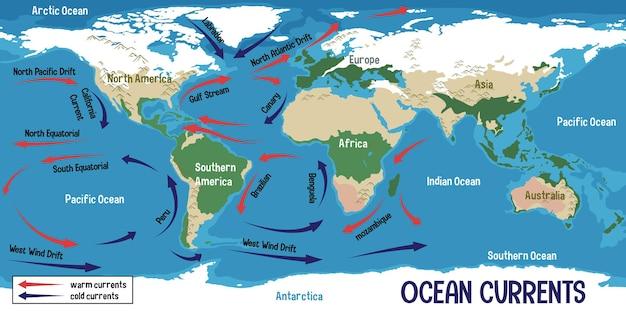 Prądy oceaniczne na mapie świata