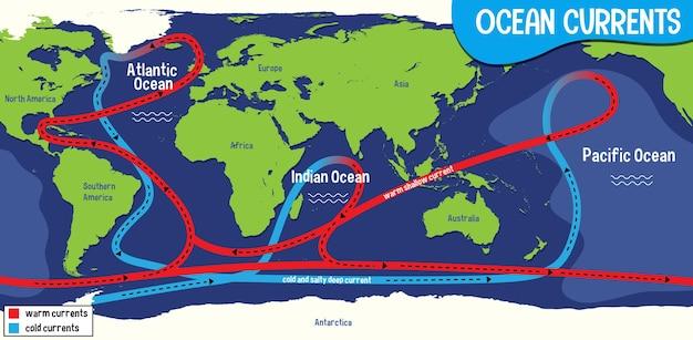 Prądy oceaniczne na tle mapy świata