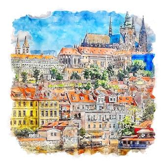 Praga czechy akwarela szkic ręcznie rysowane ilustracja