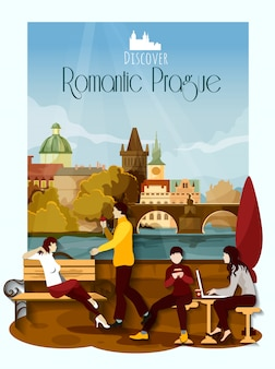 Praga plakat ilustracji