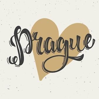 Praga. ręcznie rysowane frazę literowanie na białym tle. elementy plakatu, karta. ilustracja