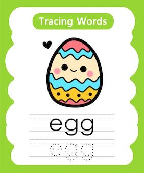 Praktyczne pisanie słów: śledzenie alfabetu e - jajko