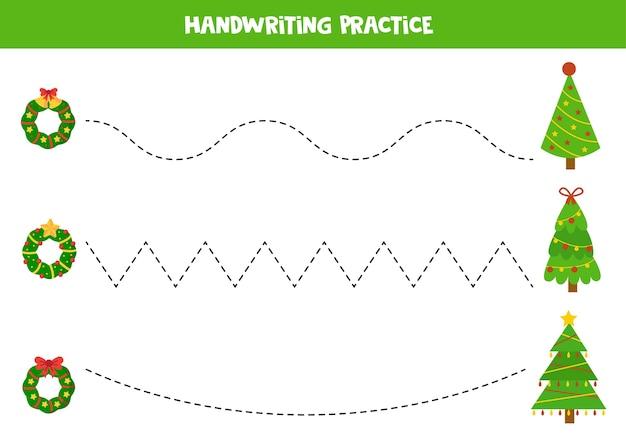 Praktyka pisania ręcznego dla dzieci z wieńcami bożonarodzeniowymi i choinkami.