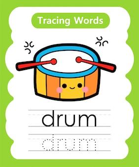 Praktyka pisania słów: śledzenie alfabetu d - bęben