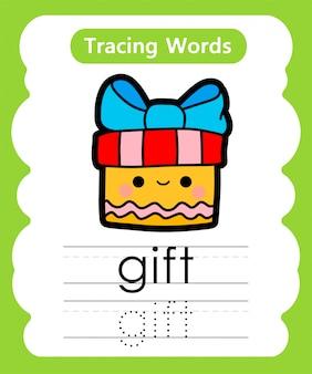 Praktyka pisania słów: śledzenie alfabetu g - prezent