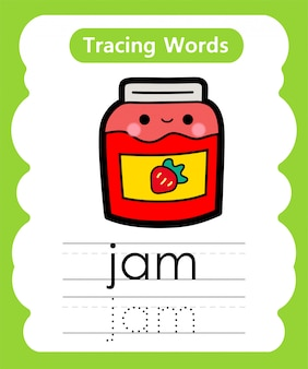 Praktyka pisania słów: śledzenie alfabetu j - jam