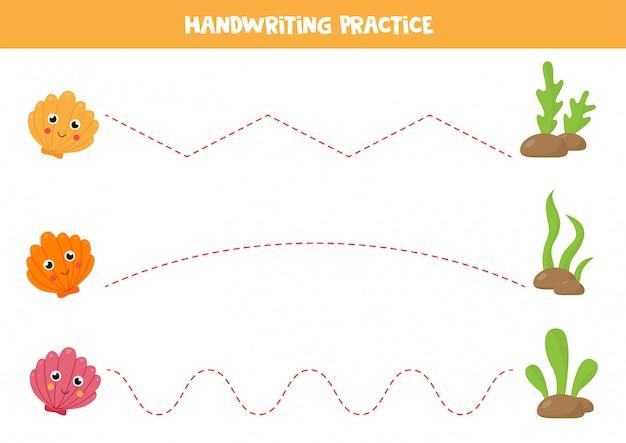 Praktyka pisma ręcznego dla dzieci. muszle kreskówka.