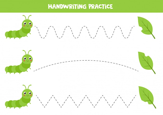 Praktyka pisma ręcznego dla dzieci. śliczna zielona gąsienica i gryźć liście.