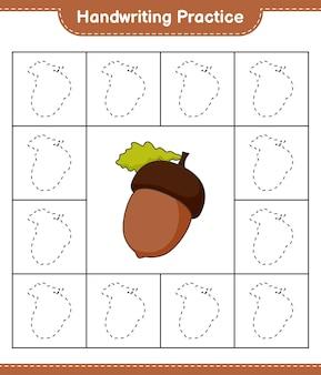Praktyka pisma ręcznego śledzenie linii acorn edukacyjna gra dla dzieci do druku arkusza