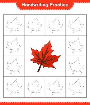 Praktyka pisma ręcznego śledzenie linii arkusza gry edukacyjnej dla dzieci maple leaf