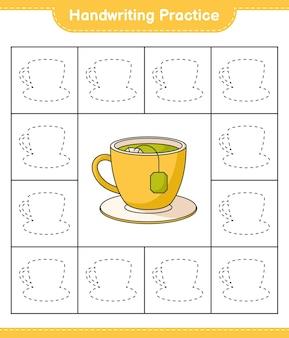 Praktyka pisma ręcznego śledzenie linii filiżanki herbaty edukacyjna gra dla dzieci do druku arkusza