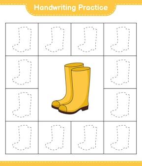 Praktyka pisma ręcznego śledzenie linii kaloszy edukacyjna gra dla dzieci do wydrukowania