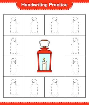 Praktyka pisma ręcznego śledzenie linii lantern edukacyjna gra dla dzieci do druku arkusza