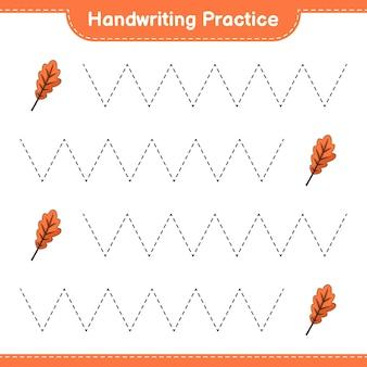 Praktyka pisma ręcznego śledzenie linii liści dębu gra edukacyjna dla dzieci do wydrukowania