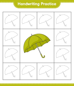 Praktyka pisma ręcznego śledzenie linii parasol edukacyjna gra dla dzieci do druku arkusza