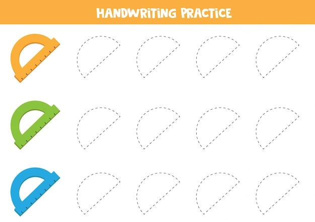 Praktyka pisma ręcznego z kolorowymi linijkami.