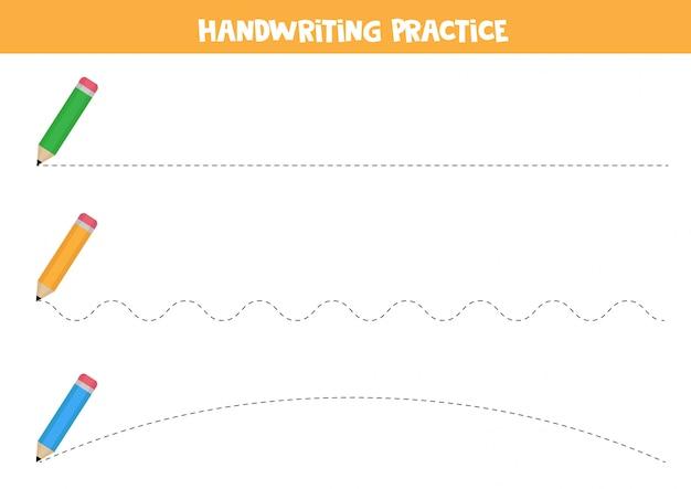 Praktyka pisma ręcznego z ołówkami. śledź linie.