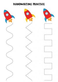 Praktyka pisma ręcznego z rakietami-zabawkami.